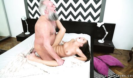 Dirty bearded grandfather fucked a young chick in the bedroom