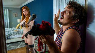 Sexy red head Lauren Phillips gets her panties raided